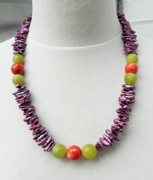 Biwa Perlen Kette mit Edelsteinen Serpentin Schaumkoralle Unikat Kette 4368