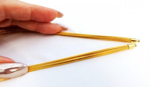 Halsreif für Wechselschließe Edelstahl vergoldet dreißigreihig 38 cm
