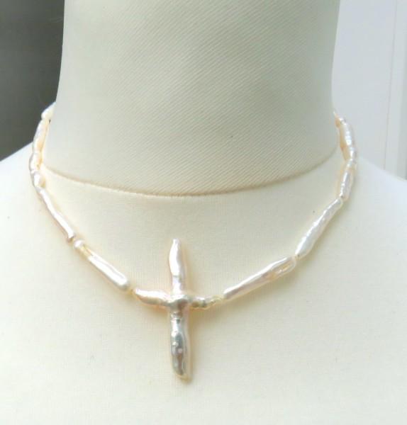 Süßwasser Perlen Kette Stäbchen Perlen Unikat Perlen Kette handgefertigt 4654