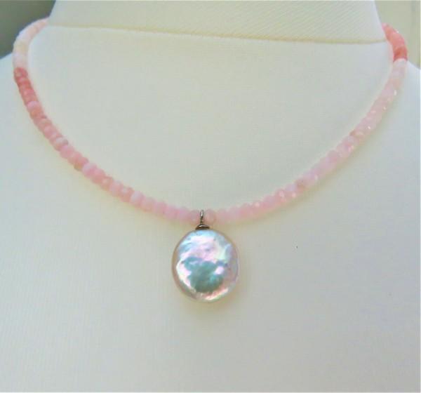 Pink Opal Coin Perlen Kette Anden Opal Kette Keshiperlen Opal Unikat Kette 4847
