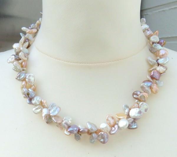 Keshiperlen Collier naturfarben zweireihig Perlenkette Halskette 3861