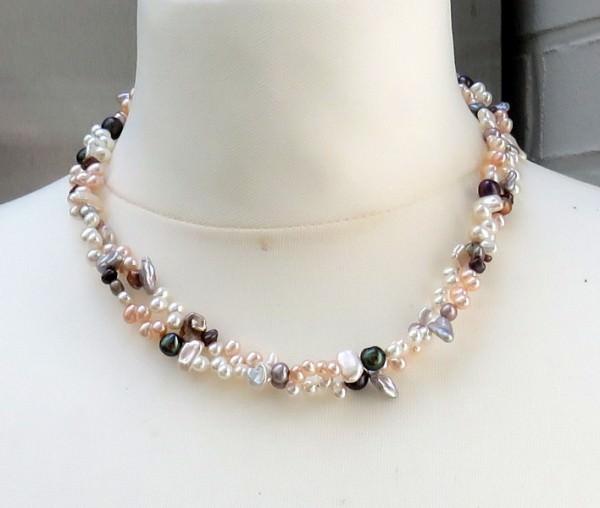 Süßwasserperlen Kette zweireihig Unikat Collier kernlose Perlen Keshi AAA 3966