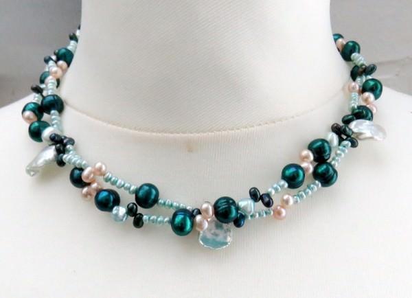 Süßwasserperlen Collier Perlen Kette mit Keshi Perlen Unikat zweireihig 3970