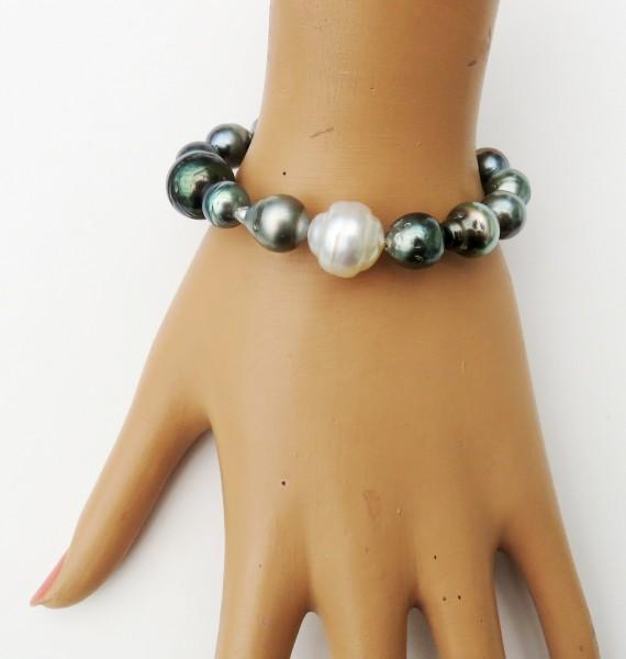 Tahiti Perlen Armband mit 14 mm Südsee Perle Unikat Armband handgefertigt 4668