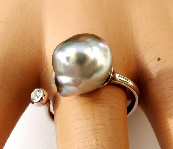 Tahiti Perlen Unikat Ring Silber rhodiniert Tahitiperle 11x12,5 mm 4277 A