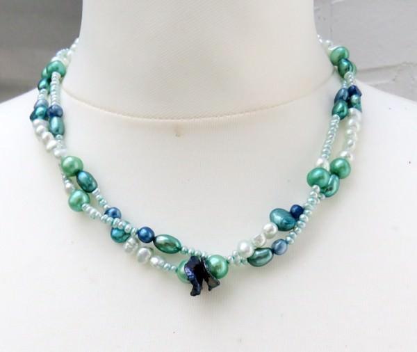 Süßwasserperlen Collier Perlen Kette Unikat zweireihig 3968
