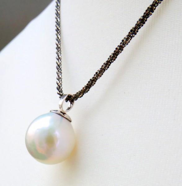 Perlen Anhänger riesige Ming/Edison Perle 17 mm Silber rhodiniert 4186