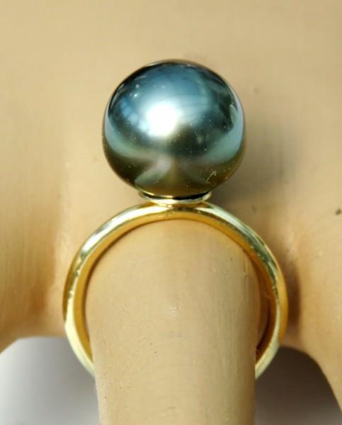 Tahitiperlen Ring Gelbgold handgefertigter Unikat Tahiti Perlen Ring 4180