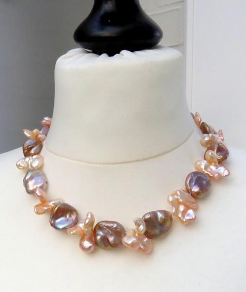 Keshi Coin Perlen Collier Süßwasser Perlen Unikat Collier naturfarben 4623
