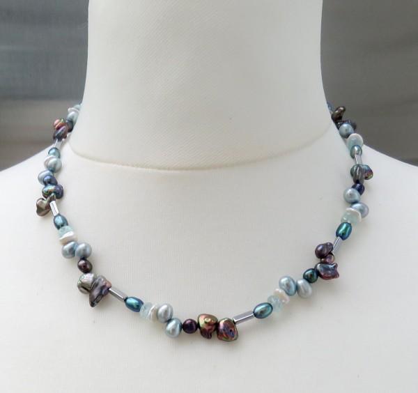 Perlen Aquamarin Hämatit Kette Tropfen, Keshi Perlen Unikat Perlen Kette 4729