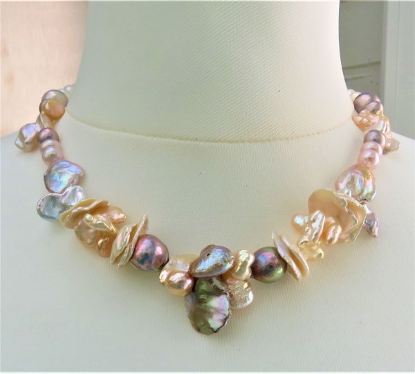Keshi Perlen Ming Perlen Kette Süßwasserperlen Kette handgefertigt Unikat 4900