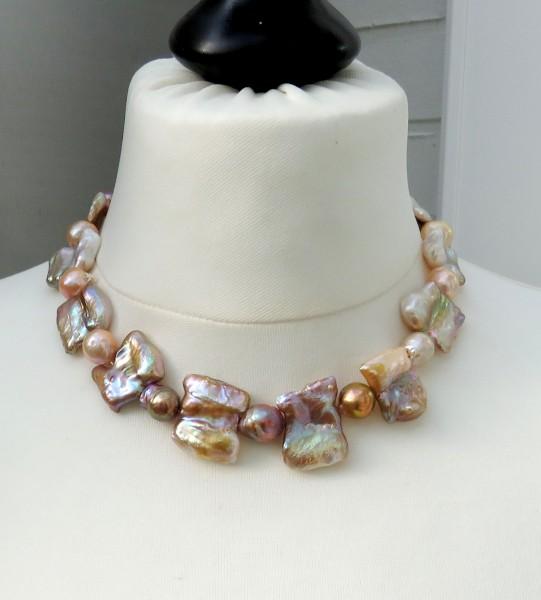 Süßwasser Perlen Collier Biwa und Ming Perlen Unikat Collier handgefertigt 4517