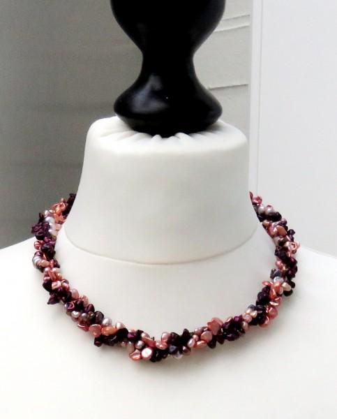 Perlen Collier Keshi Perlen drei reihig Süßwasser Perlen Unikat Collier 4704