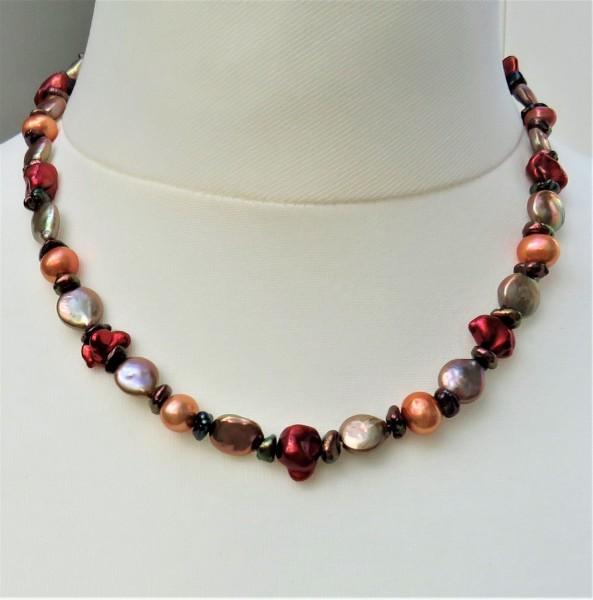 Süßwasserperlen Kette Keshi Perlen Coin Perlenkette Unikat handgefertigt 4895