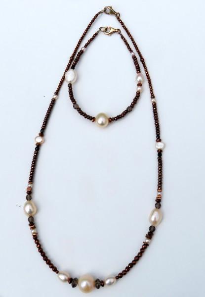 Perlen Edelstein Set Hämatit Perlen Kette und Armband 4409