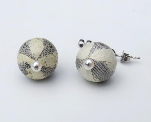 Süßwasser Perlen Ohrringe mit Schlangen Leder handgefertigt 4551
