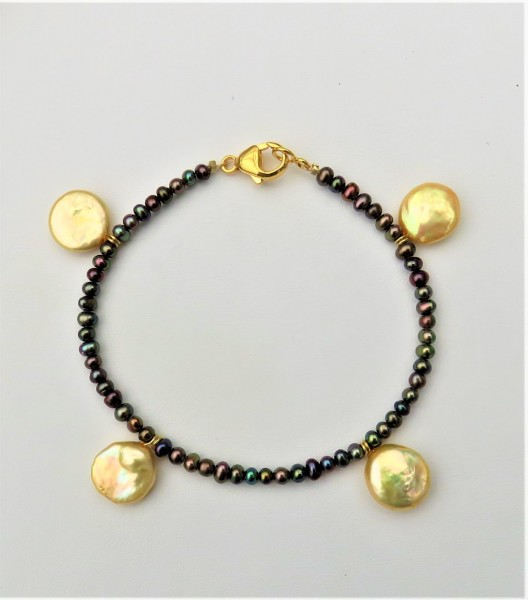 Süßwasser Perlen Armband Coin Perlen Armband Unikat Armband handgefertigt 4848
