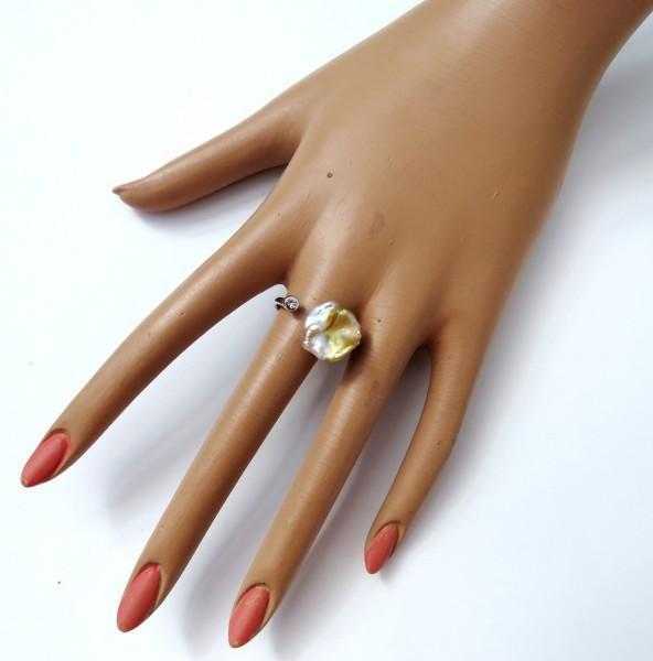 Keshi Perlen Unikat Ring Süßwasser Keshiperle naturfarben 4299