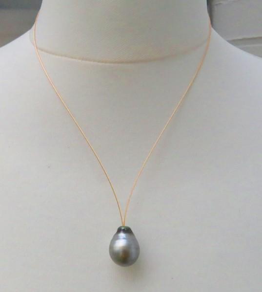 Tahiti Perle Goldseil Tahiti Tropfen Perlen Anhänger Unikat handgefertigt B4717