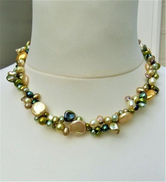 Süßwasser Perlen Kette Perlen Collier 2-reihig Keshi Perlen Unikat Kette 4894