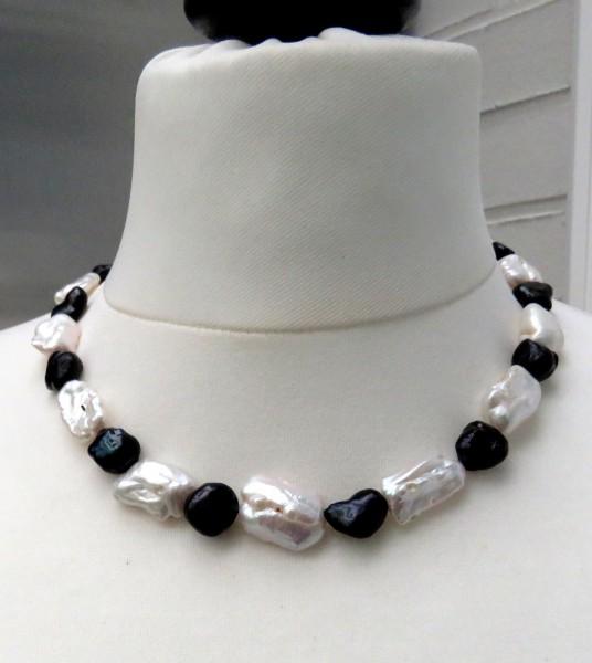 Perlen Kette Süßwasser Keshi Perlen Kette Unikat Perlen Kette handgefertigt 4735
