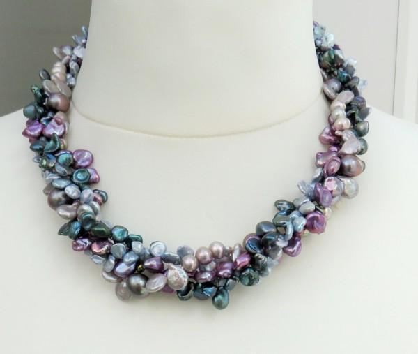Süßwasser Keshiperlen Collier vierreihig Unikat Perlen Kette handgefertigt 4414