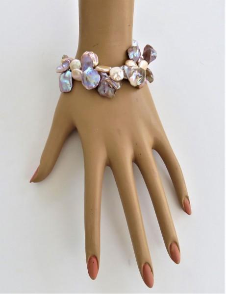 Keshi Perlen Coin Perlen Unikat Armband naturfarben handgefertigt 2-reihig 4862