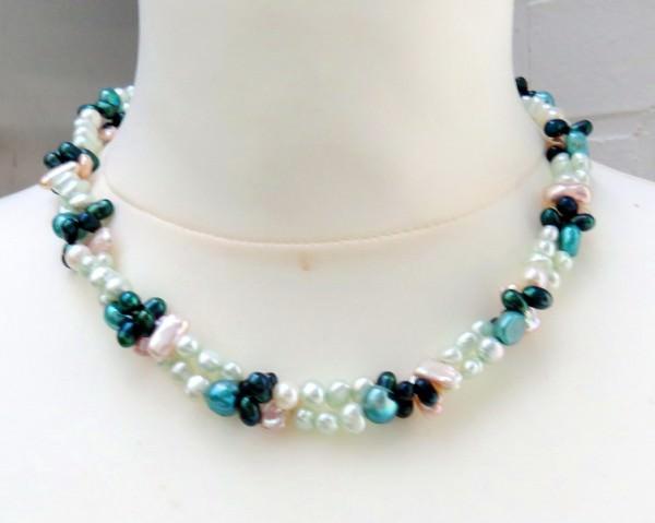 Süßwasserperlen Collier Perlen Kette mit Biwa Perlen Unikat zweireihig 3968