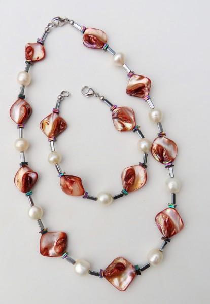 Süßwasser Perlen Perlmutt Hämatit Set Kette und Armband Unikat Perlen Set 4651