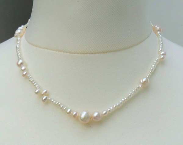 Süßwasserperlen Kette Unikat Perlen Kette Sterlingsilber rhod. 4402