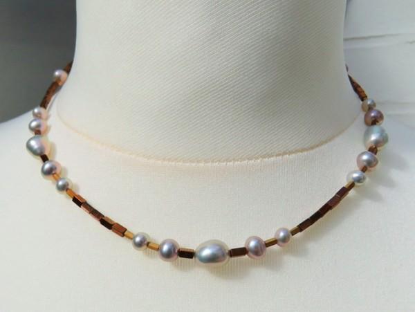 Süßwasserperlen Hämatit handgefertigtes Unikat Collier Perlenkette 3654