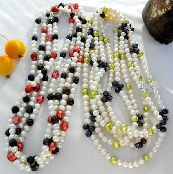 Süßwasserperlen Ketten Endlosketten Halsketten handgefertigte Unikate 4016 A - B
