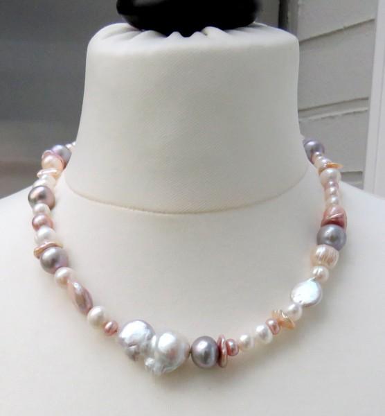 Süßwasser Perlen Kette, Perlen Unikat Collier handgefertigt 4467