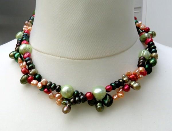 Süßwasseperlen Collier zweireihig Perlen Kette Designer Kette 4164