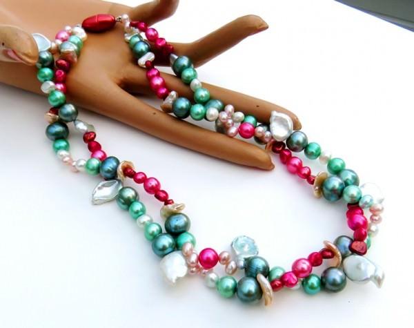 Süsswasserperlen Collier Perlen Kette Unikat Collier Halskette Perlen 4105
