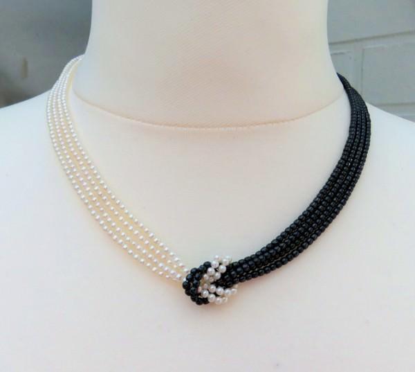 Süßwasserperlen Hämatit Collier vierreihig AAA Halskette Perlenschmuck 3657