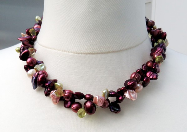 Süßwasser Keshi Perlenkette Unikat Perlenkette Keshiperlen Kette 4417