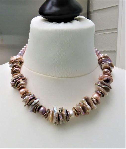 Keshi Perlen Kette Süßwasserperlen Unikat Kette Perlenkette Keshi Collier 4912