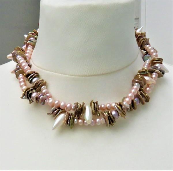 Perlen Collier Tropfen Perlen Keshi Perlen Boutonperlen Unikat Perlen Kette 4832