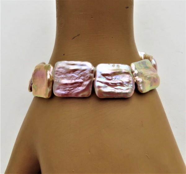 Perlen Unikat Armband Coin Perlen naturfarben 17x22 mm Süßwasser Perlen 4793