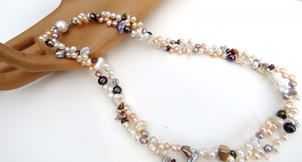 Süßwasserperlen Keshi Collier Keshiperlen Kette Perlen Kette Unikat 3966