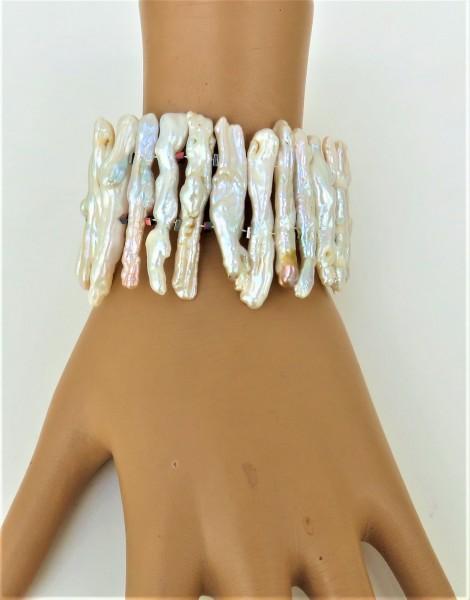 Süßwasser Perlen Armband Drachenzahn Perlen Armband Unikat Perlen Armband 4839