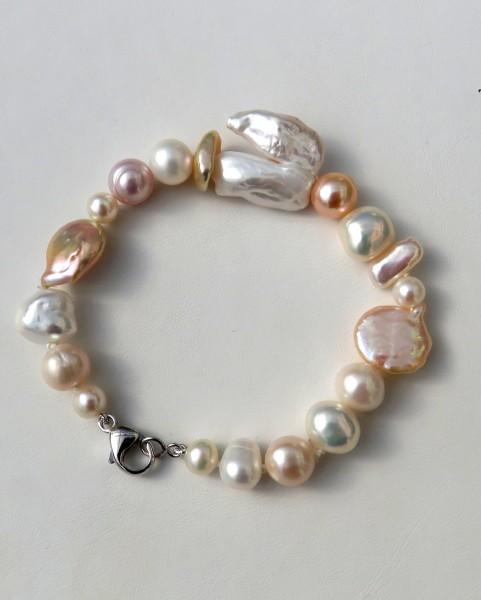 Süßwasser Perlen Mix Armband Coin Keshi Perlen Unikat Armband handgefertigt 4648