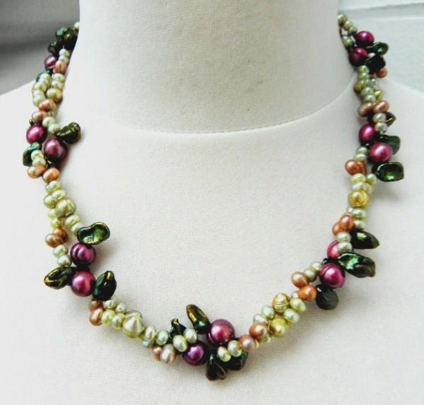 Süßwasserperlen Collier Perlen Kette Perlen Collier Unikat Schmuck 397