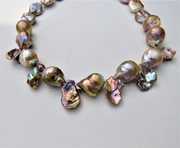Ming Perlen Kehsi Fantasy Perlen Collier naturfarben Unikat Perlen Kette 4861