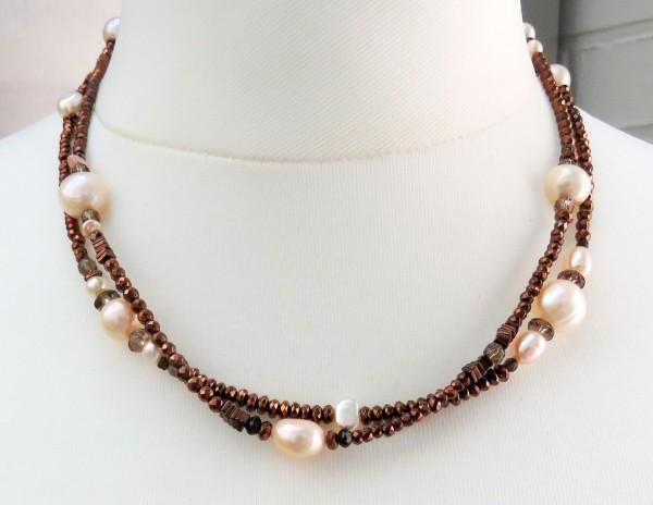 Perlen Edelstein Kette Süßwasser Perlen Natur Hämatit kupferfarben 4408