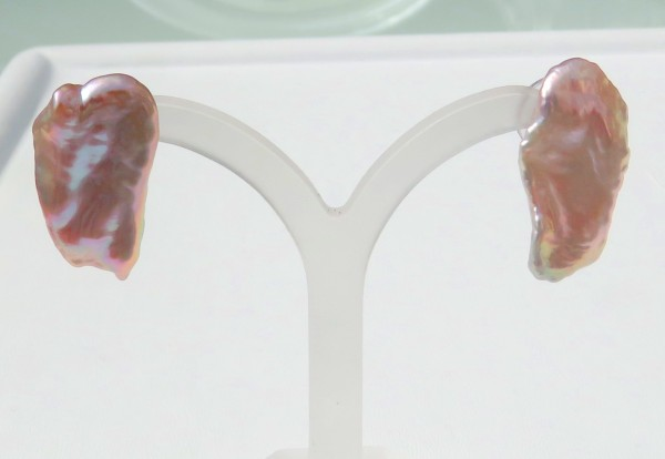 Süßwasser Perlen Ohrstecker Biwa Perlen Ohrringe Unikat Perlen Ohrstecker 4528