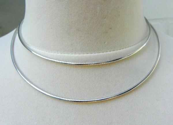 Omega Halsreif Halskette Kette Silber und Silber rhodiniert Unisex 3211