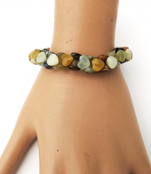 Jade Achat Armband Unikat Edelstein Herz Armband handgefertigt gefädelt 4533