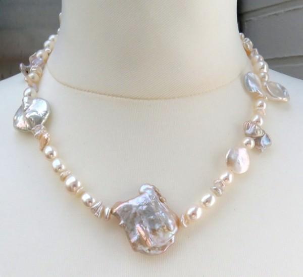 Süsswasserperlen Kette Coin Perlen Kette Keshi Perlen Kette Unikat Collier 4132